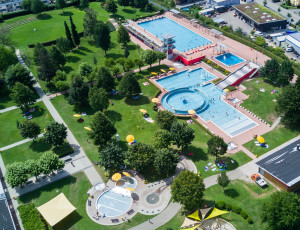 Aerial view of the Lörrach Park outdoor swimming pool
