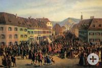 Entry of the guerrillas under Gustav Struve in Lörrach on April 20, 1848