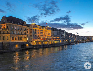 The banks of the Rhine in Basel in an evening mood (© Juri Weiss, Basel, www.bs.ch/bilder)