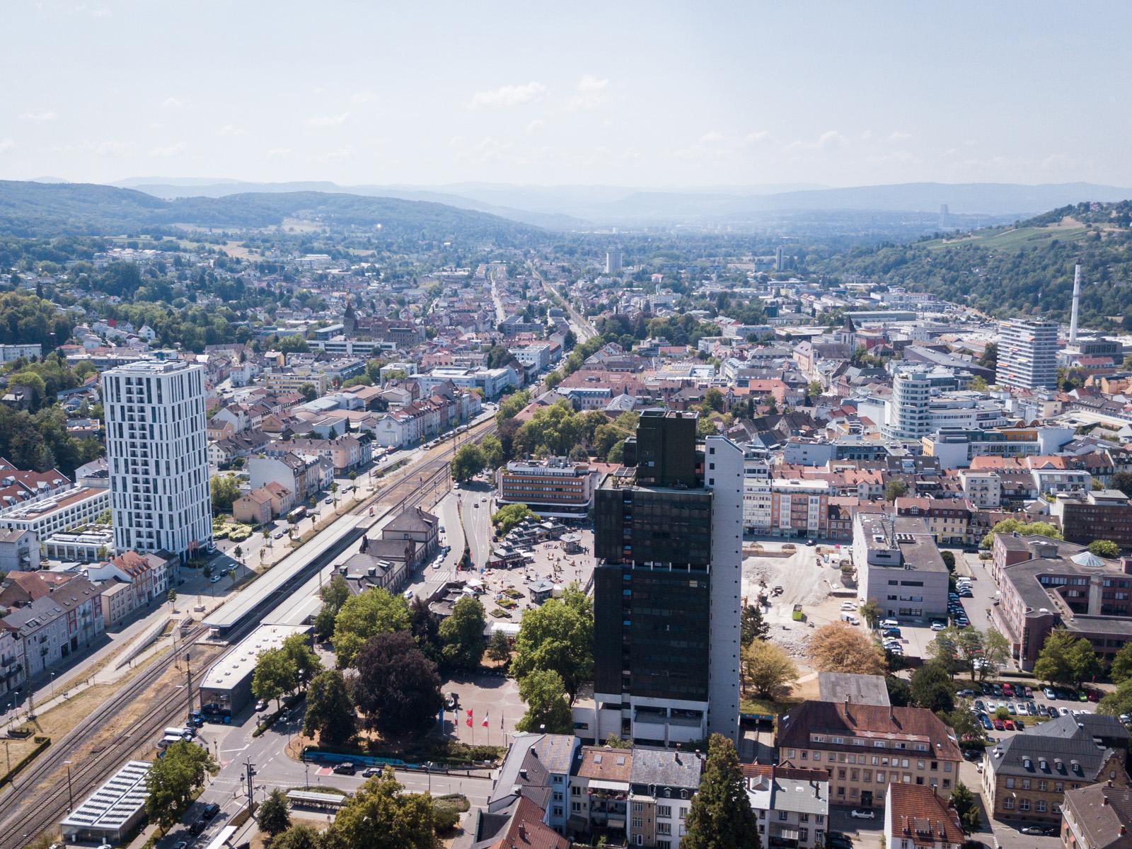 Blick auf die nördliche Innenstadt von oben