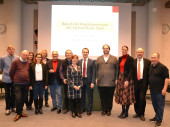 Oberbürgermeister Jörg Lutz und Bürgermeisterin Monika Neuhöfer-Avdić mit Mitgliedern der Regiokommission des Kantons Basel-Stadt