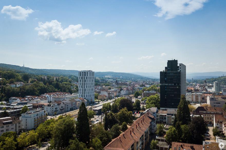 Stadtmitte mit Steigenberger Hotel Stadt Lörrach und Rathaus Lörrach