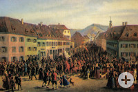 Entry of the guerrillas under Gustav Struve in Lörrach on April 20, 1848