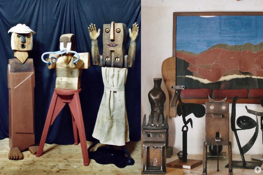 """""""Pilger, singend"""" (2011, Holz-Eisen-Muschel), """"Flötenspieler"""" (2011, Holz-Aluminium), """"Ouende"""" (2011, Holz-Eisen-Sackleinwand); Höhe je: 1,75m - rechts: """"Schlafende Muse"""" (2008, Gouach-Collage / Relief-Holzrahmen, 94x124cm), Eisenskulpturen (2010)"""