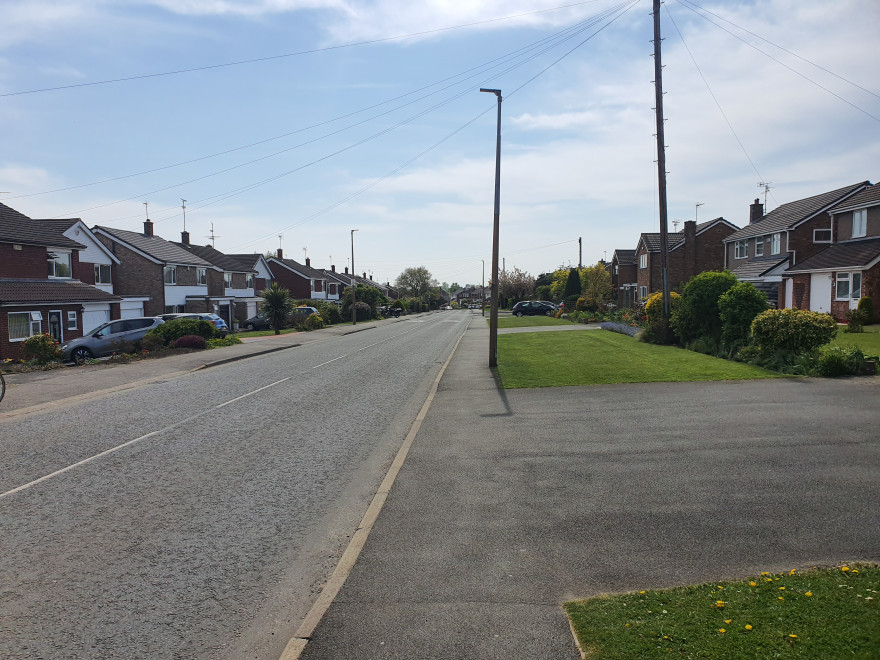 Menschen- und Autofreie Straße in Chester im April 2020
