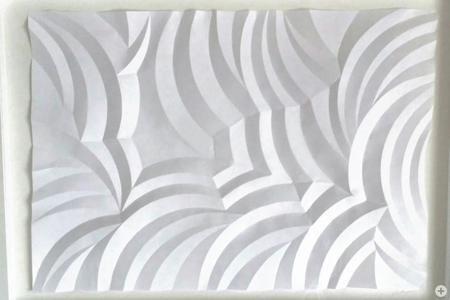 Zwischen Wolke, ein Bogen Imagepapier, gefaltet, 50 x 70 cm, 2017