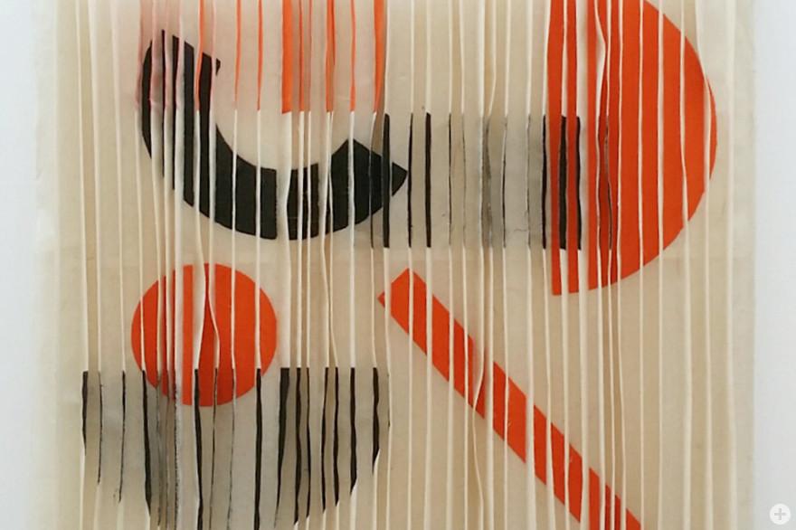 Lamellen III, ein Bogen Washi, gefaltet, japanische Tusche, 30 x 30 cm, 2020